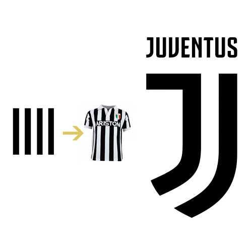 Listras pretas e brancas - Novo escudo da Juventus