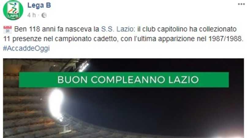 Facebook da Serie B do campeonato italiano dá parabéns para a Lazio