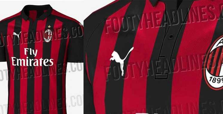 Detalhe da camisa do Milan com a Puma