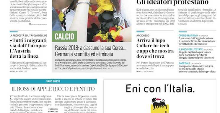 Capa do Il Tirreno eliminação da alemanha