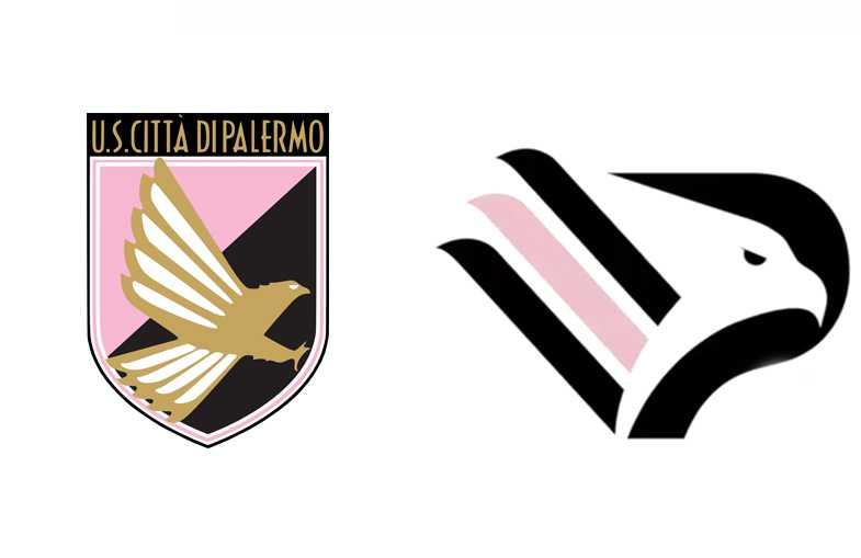 Novo logo do Palermo antes e depois