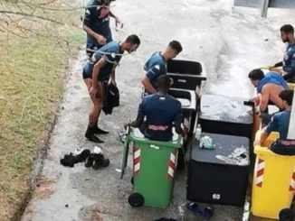 jogadores do napoli tratamento com gelo em lixeiras